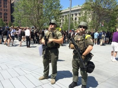 Ohio Police Stand Near the Soldiers and Sailors Monument in Public Square