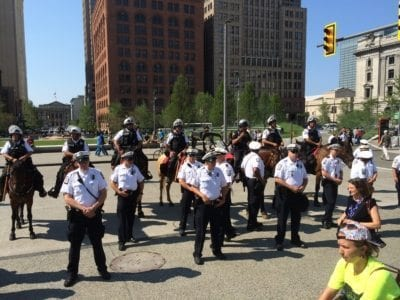 Ohio Police in Public Square with Mounted Police