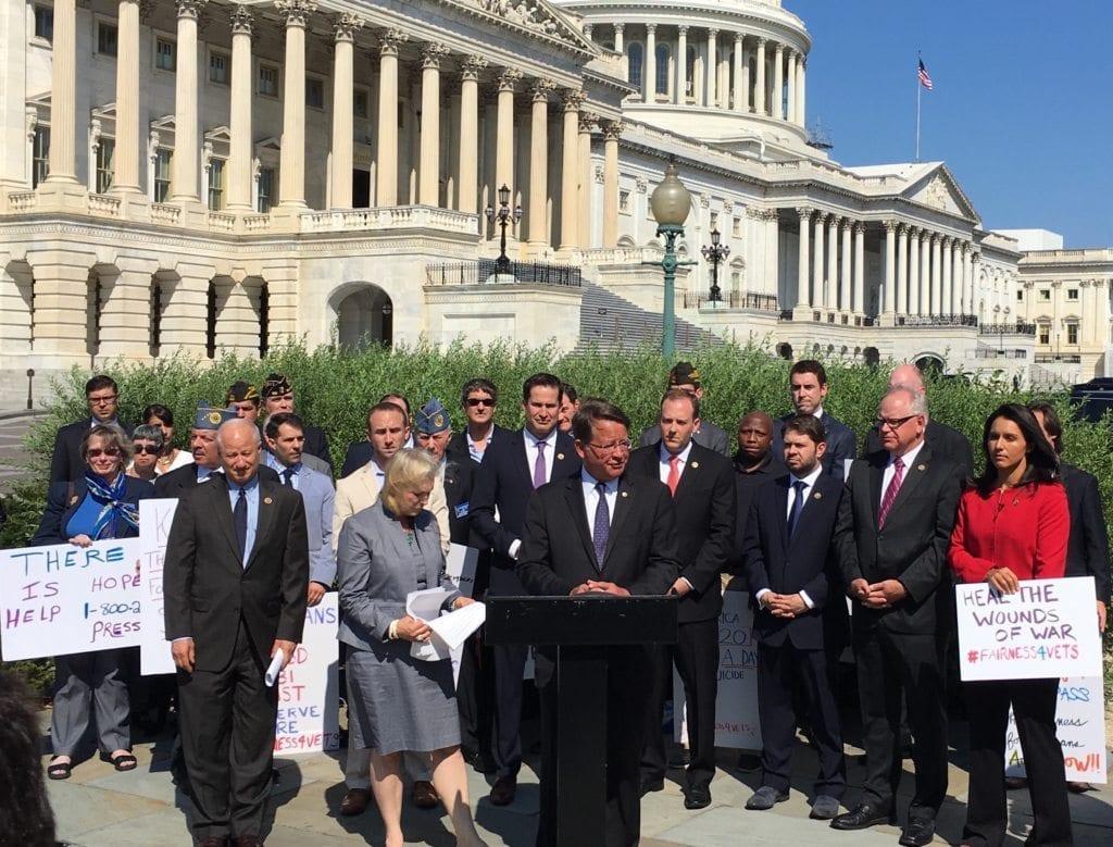 Fairness for Veterans support rally, Sept. 13 [Speaking: Sen. Gary Peters (D-MI), Sen. Kirsten Gillibrand (D-NY)(l)]