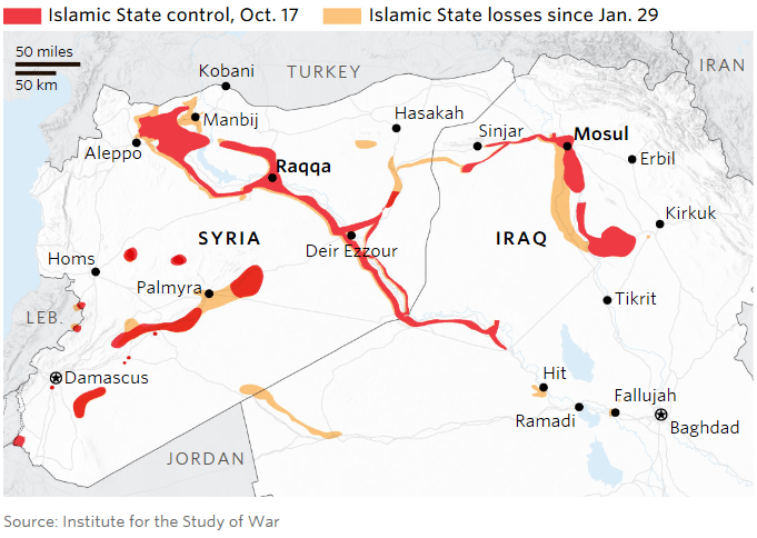 Image ISIS Raqqa Mosul Map