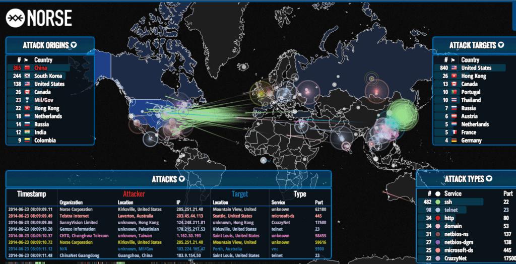Image Norse cyber attack simulation