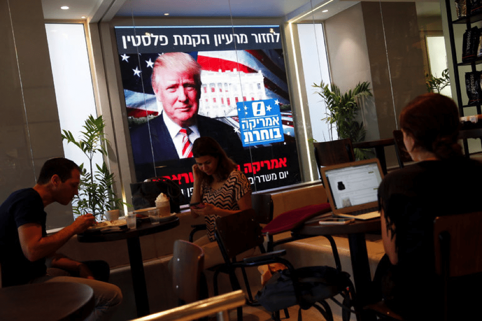 Image Donald Trump from a cafe in Tel Aviv.