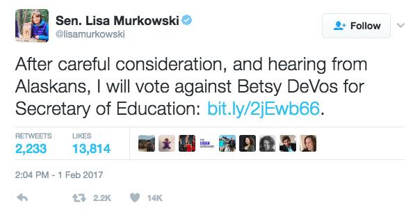 Image Sen. Murkowski tweet about Betty DeVos