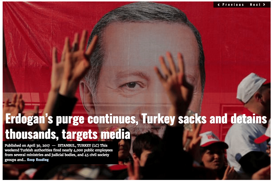 Image Lima Charlie News headline Erdogan Turkey APR30