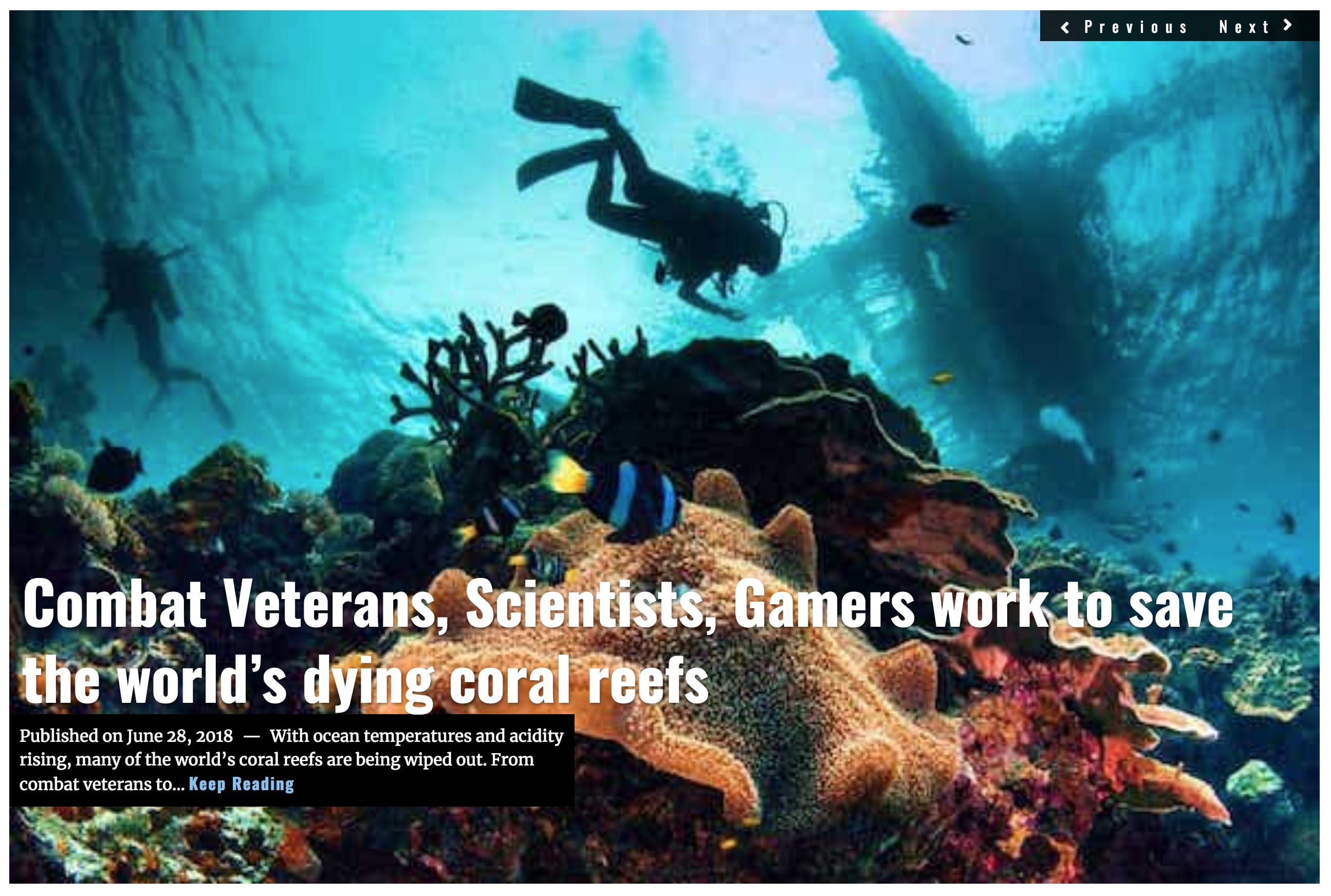 Image Lima Charlie News Headline Combat Veterans Coral Reefs