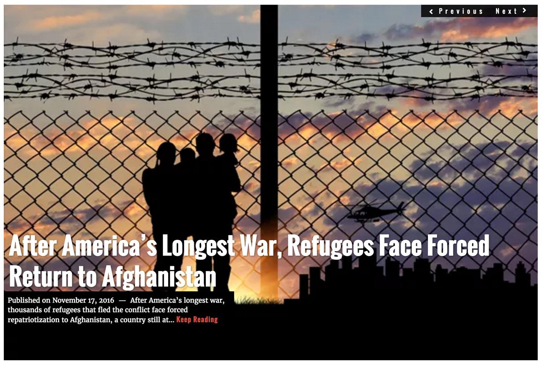 Image Lima Charlie News headline November 17, 2016 Afghanistan refugees
