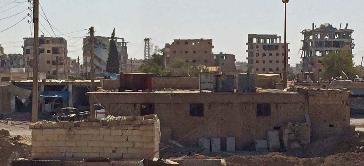 Image Skyline of Raqqa, Syria, 5km from the city center on the current western front line, showing devastation from shelling (Image provided to Lima Charlie News, July 2017, courtesy of Freedom Research Foundation)
