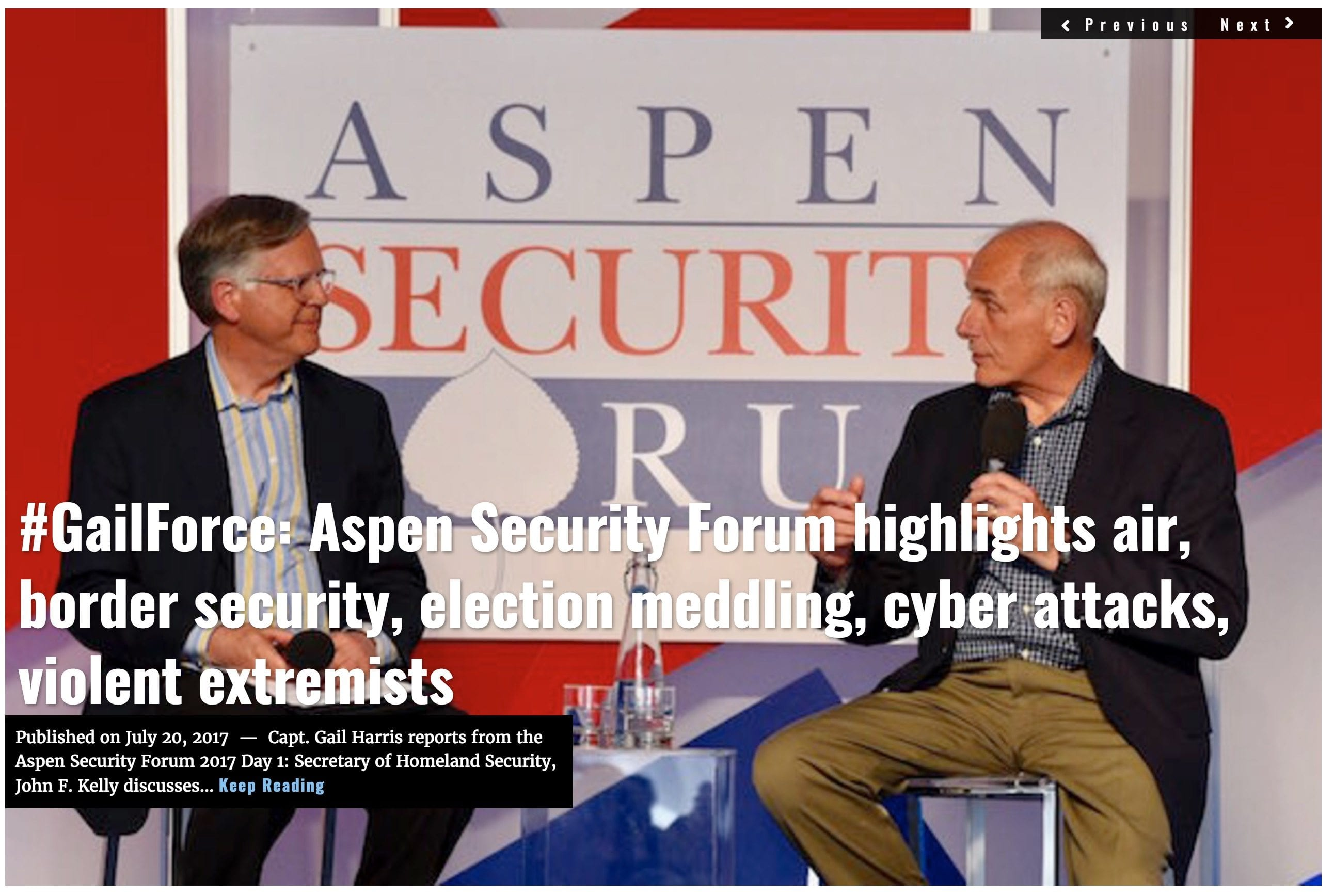 Image Lima Charlie News headline July 20 2017 Gailforce Aspen Security Forum