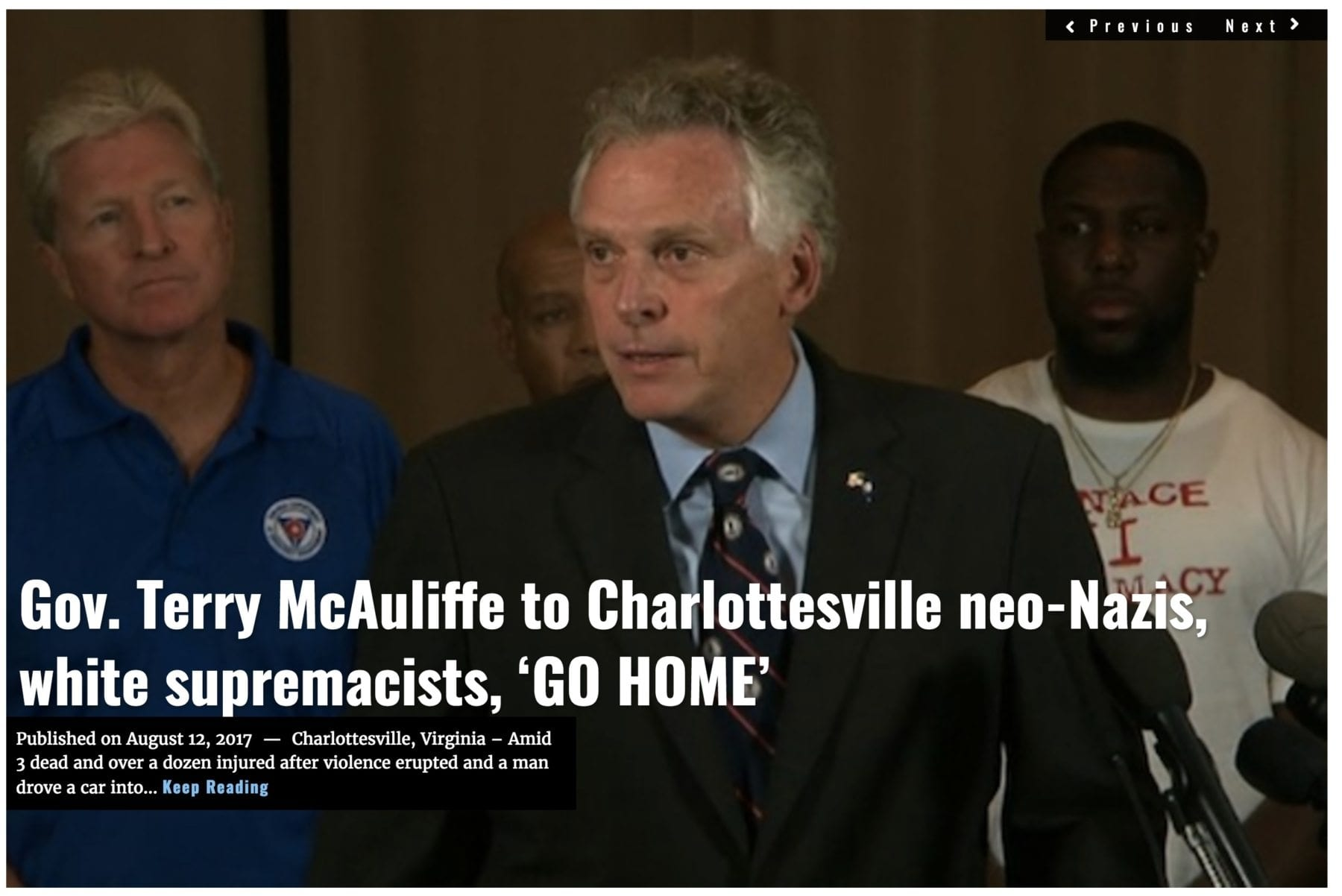 Image Lima Charlie News headline Charlottesville AUG 12