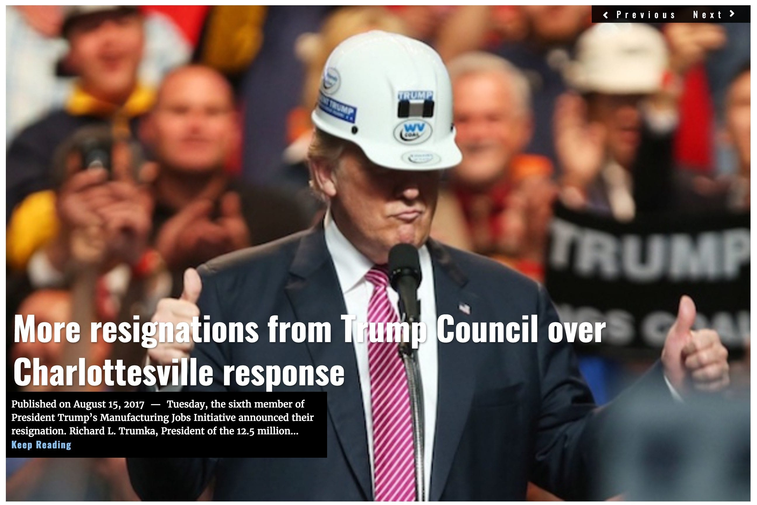 Image Lima Charlie News headline Trump Council resignations