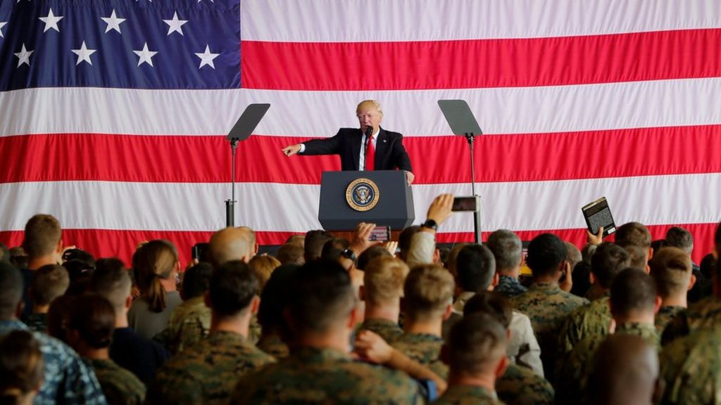 Image President Trump gives a speech to US military personnel in Italy, May 2017 (Reuters).