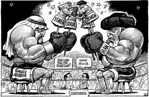 Image Iran Saudi cartoon