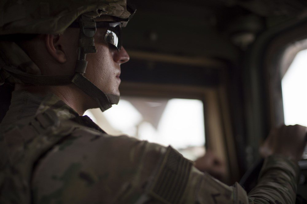 Image U.S. Army Pfc. Corey Boyce, Combined Joint Task Force-Horn of Africa Quick Reaction Force team member, drives a Humvee during a mission June 20, 2016, at Camp Lemonni (U.S. Air Force photo by Staff Sgt. Eric Summers Jr.)