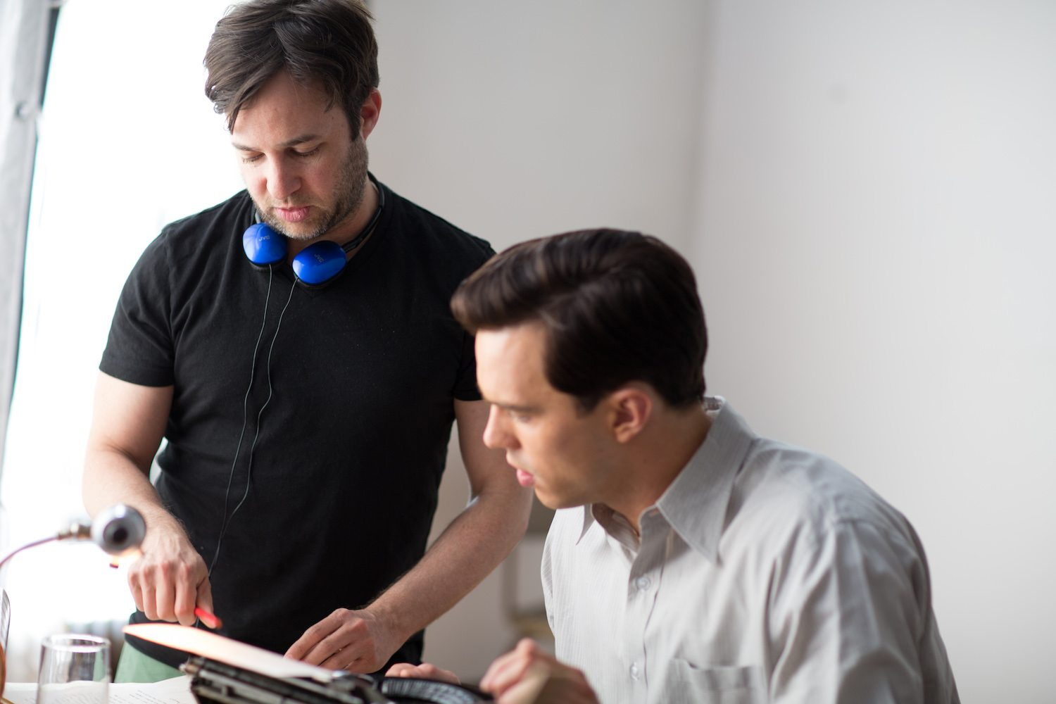 Image Director Danny Strong and Nicholas Hoult as J.D. Salinger in Danny Strong's REBEL IN THE RYE. (Photo: Alison Cohen Rosa. Courtesy of IFC Films.)