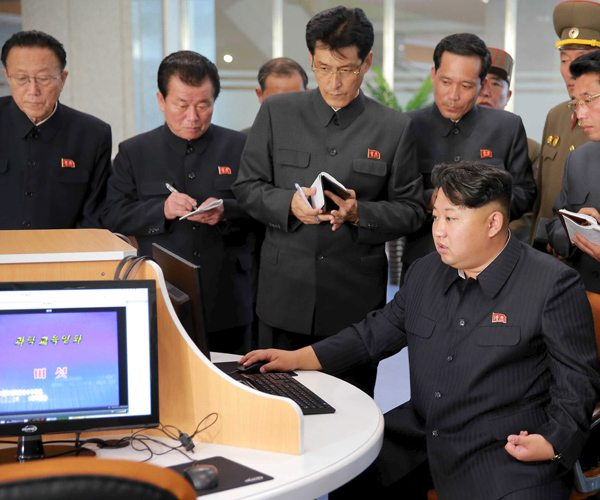 Kim Jung Un at a North Korean science and technology center 2014