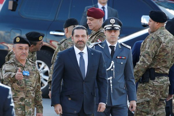 Image Saad Hariri at a military parade in Beirut, Lebanon, on Wednesday to celebrate the country's independence. (Mohamed Azakir/Reuters