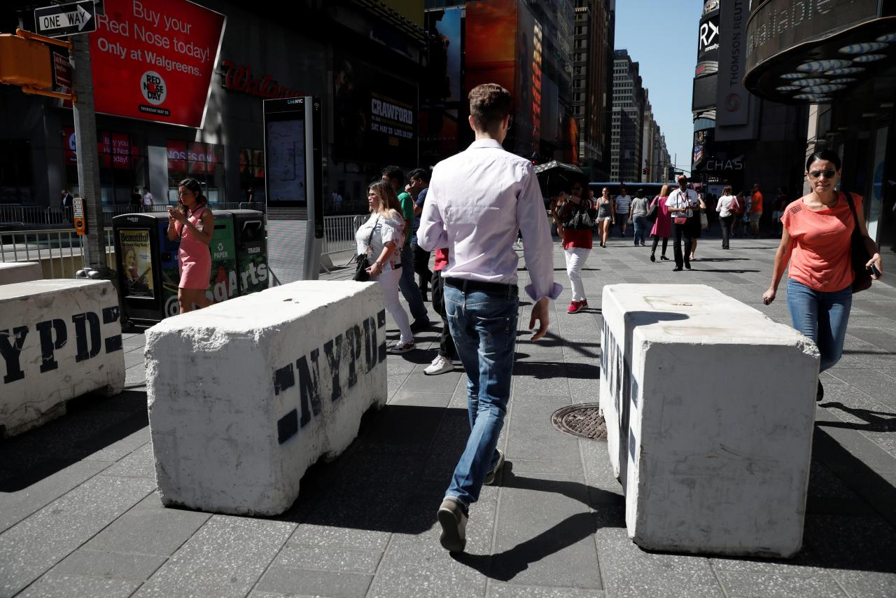 Image Concrete barricades in Times Square (REUTERS/Mike Segar)