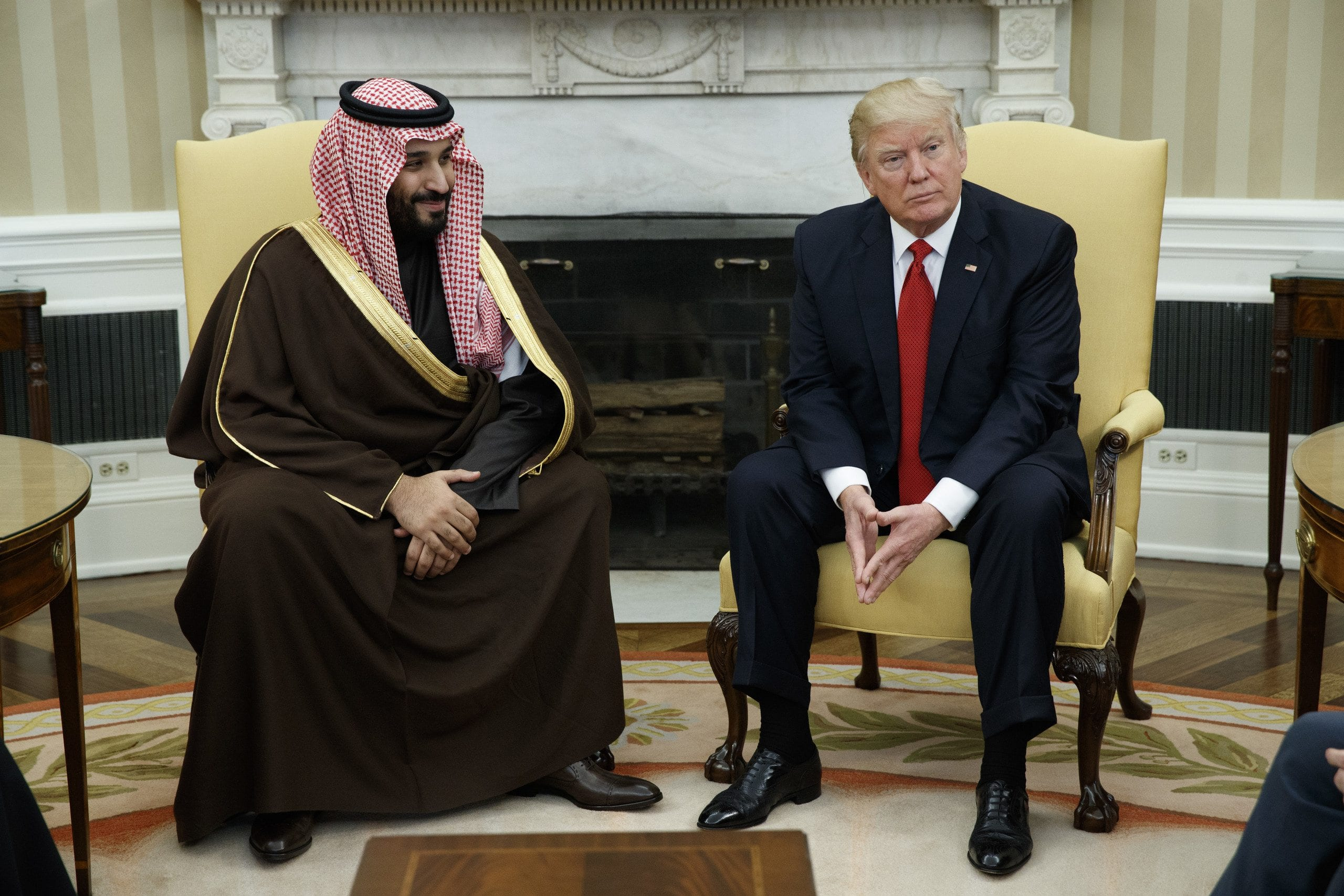 Image President Donald Trump meets with Saudi Defense Minister and Deputy Crown Prince Mohammed bin Salman bin Abdulaziz Al Saud in the Oval Office of the White House in Washington, Tuesday, March 14, 2017. (AP Photo/Evan Vucci)