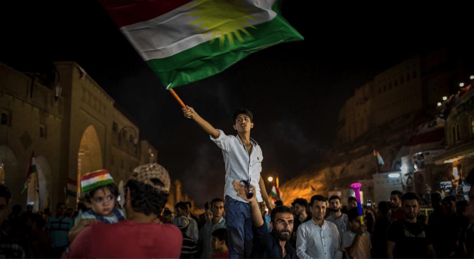 Image Kurds celebrating the referendum in Erbil. (Ivor Prickett)