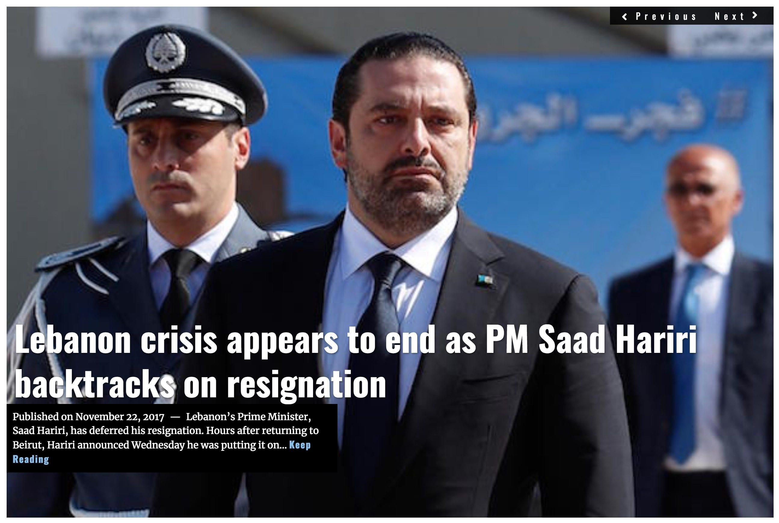 Image Lima Charlie News Headline Saad Harari un resignation NOV22