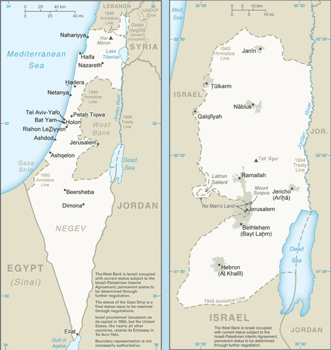 Image Map of Israel / Jerusalem [Source: CIA World Factbook]
