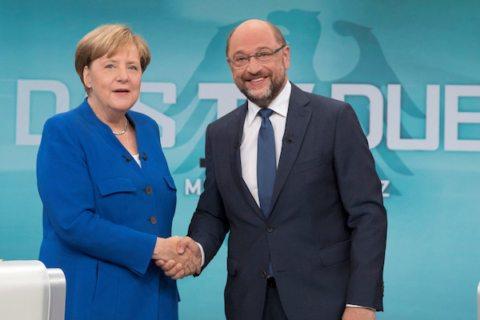 Title Image:German Chancellor Angela Merkel Martin Schulz shaking hands before their TV debate in Berlin in September. Photo: Reuters