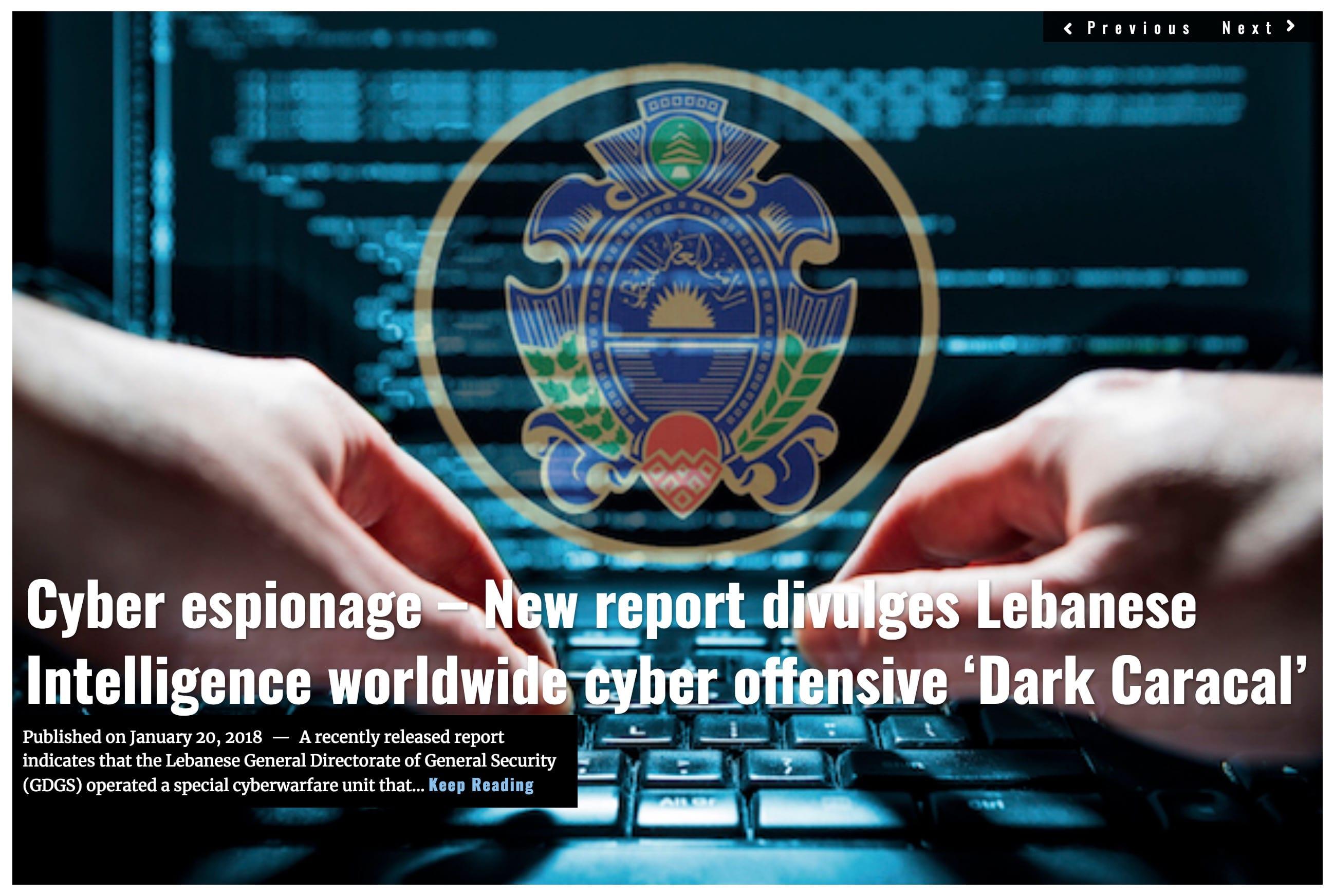 Image Lima Charlie News Headline Lebanon cyber espionage J.Sjoholm JAN 20