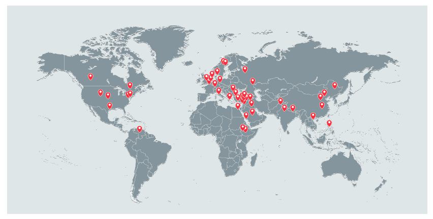 Image Observed locations of compromised devices (Courtesy of Lookout, Inc., and Electronic Frontier Foundation)