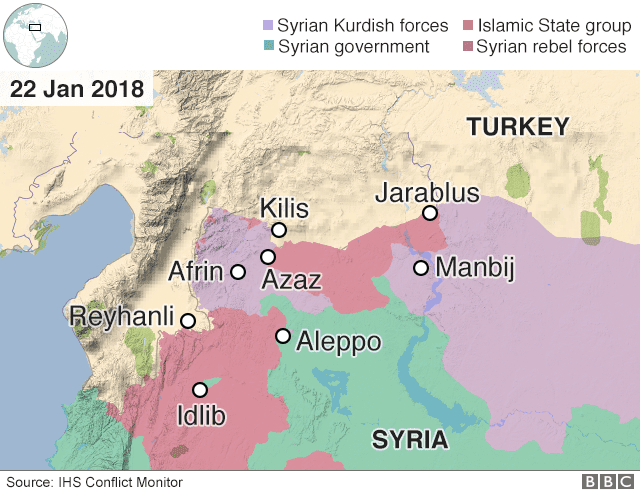 Image map Turkey Syria Offensive JAN 22 2018
