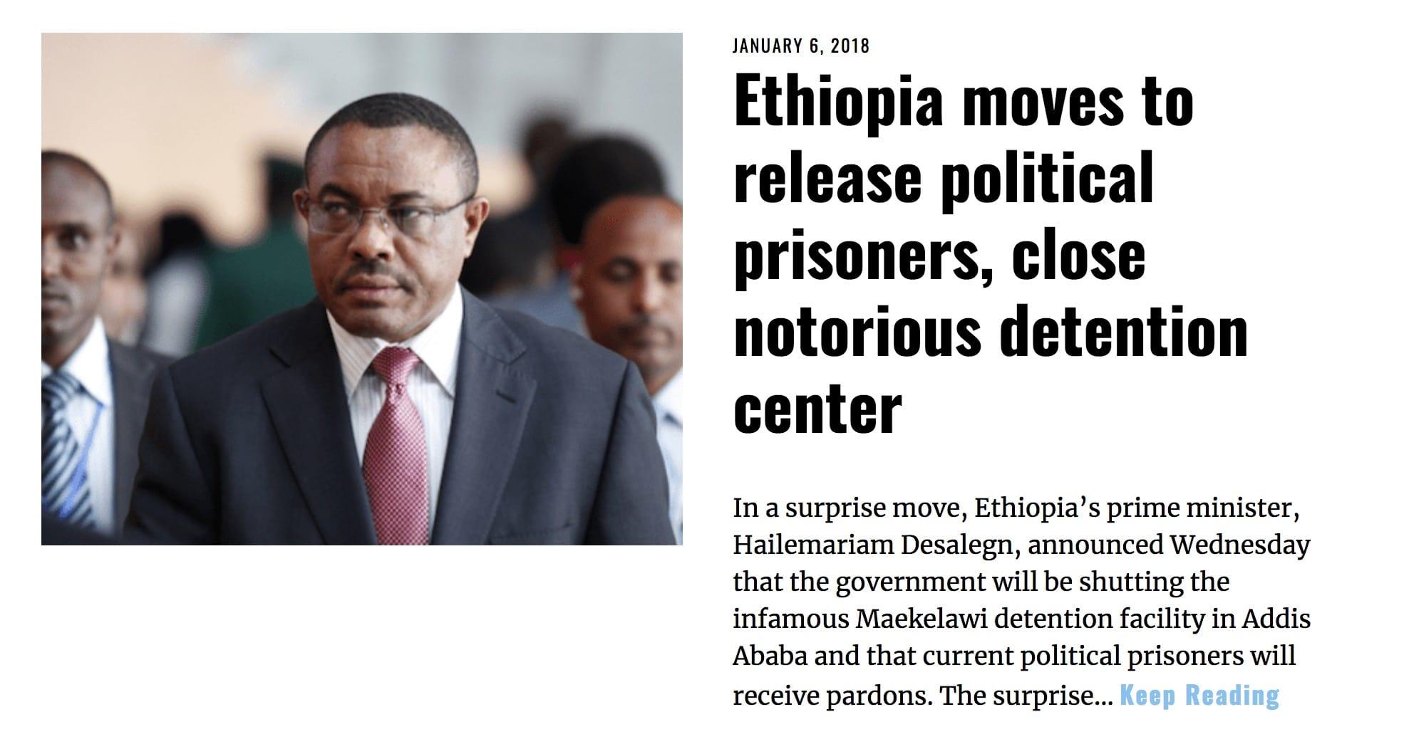 Image Lima Charlie News Headline Ethiopia release prisoners