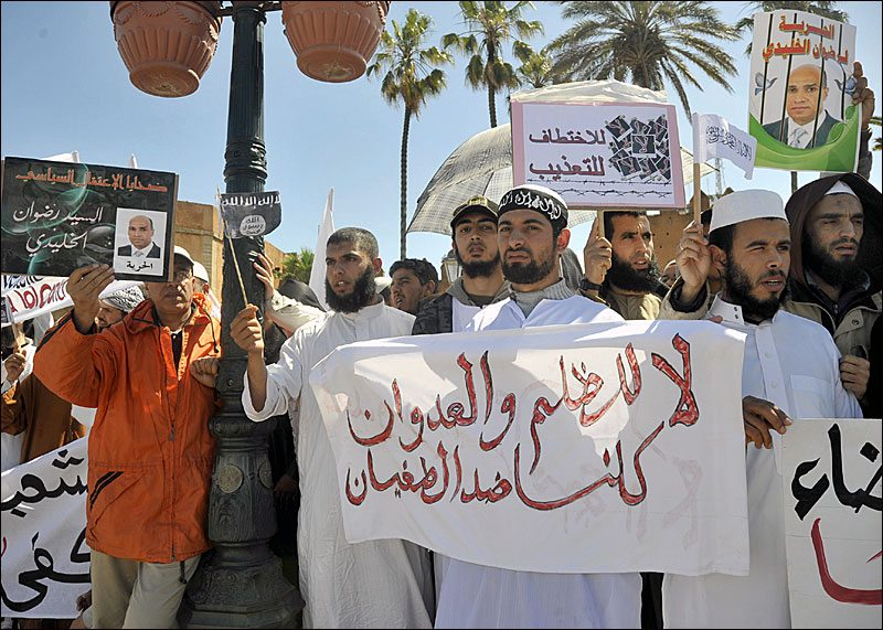 Image Moroccan Salafists at a 2011 protest against the state [Imrane Binoual]