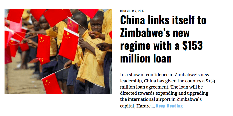 Image Lima Charlie News Headline China Zimbabwe