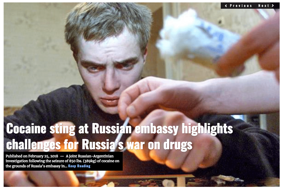 Image Lima Charlie News Headline Russia war on drugs FEB 25 2018