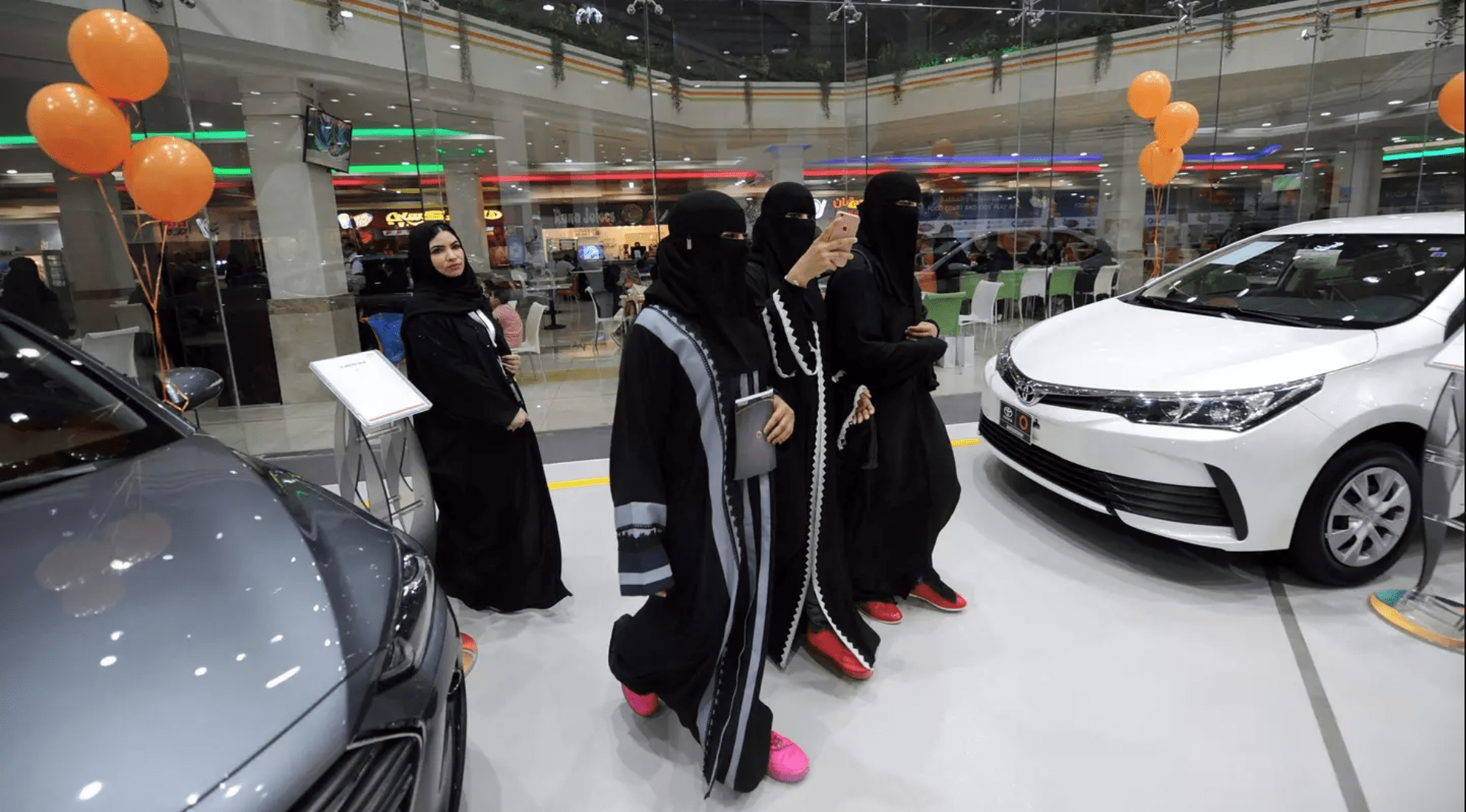 Image After a royal decree lifting the ban on women drivers, the first all-female auto show was held at Le Mall in Jeddah. (AP)
