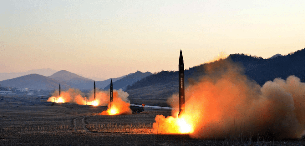 Image (Undated picture released by North Korea's Korean Central News Agency shows the launch of four ballistic missiles by the Korean People's Army during a military drill)