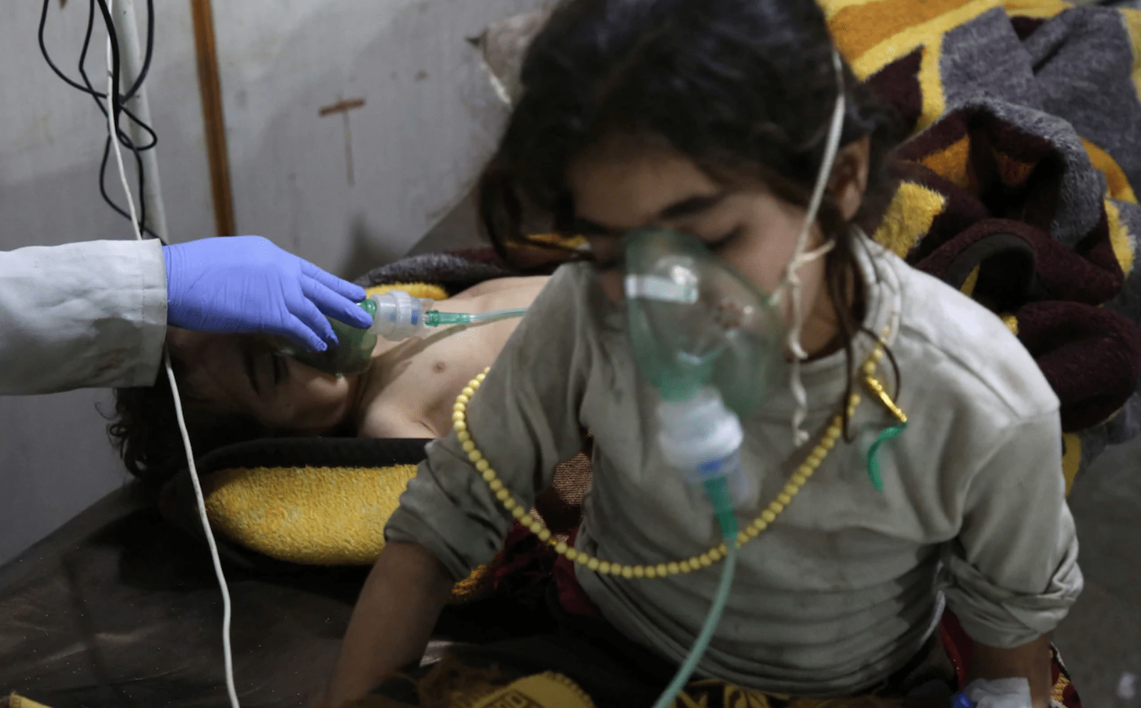 Image Children being treated in Eastern Ghouta, Syria, after the alleged gas attack [Photo: Diaa Al-Din/Syrian American Medical Society]