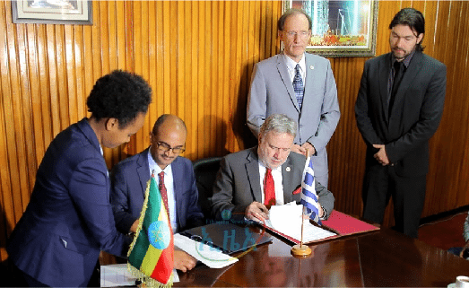 Image (The image above shows the signing of the agreement between the Hellenic Republic and Ethiopia which will provide graduates of the Ethiopian Maritime Institute the opportunity to work on Greek vessels. | Source: ETHPRESS)