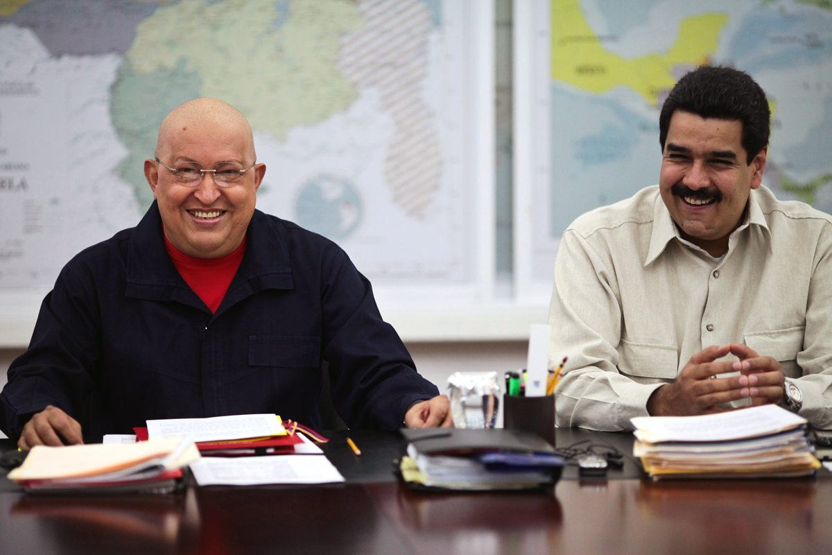 Image Hugo Chávez (left) and his protege, Nicolás Maduro (right) in 2011, prior to Chávez's death. Maduro served as Chávez's vice president, and came into office with high approval ratings because of that association. Fast forward 4 years, and those ratings have plunged into the teens. [Prensa Presidencial]
