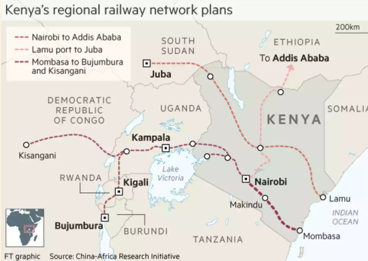 Image Map of planned railways in Kenya. [FT]