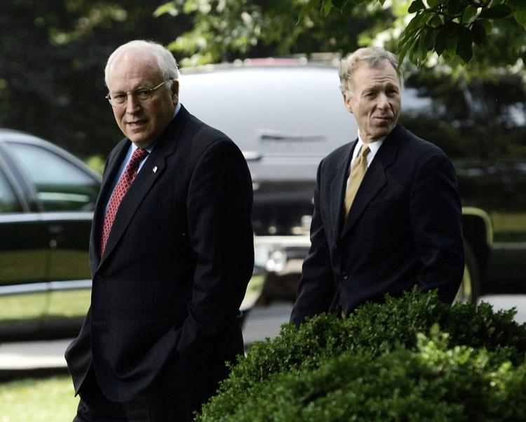 Image (Dick Cheney (l) with Scooter Libby Libby on July 1, 2005 (BRENDAN SMIALOWSKI)