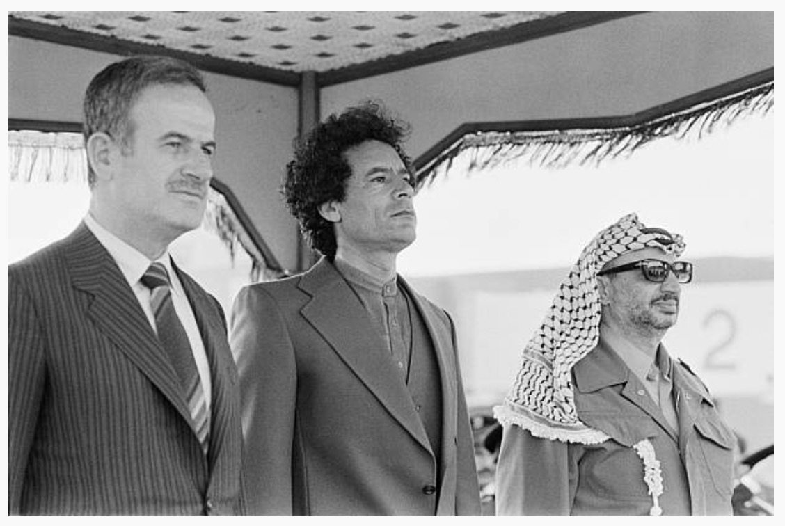 Image [Heads of state Hafez al Assad, Muammar al-Qaddafi and Yasser Arafat during the 4th summit of the Steadfastness and Confrontation National Front, in Tripoli, April 12, 1980]