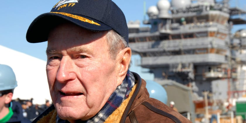 Image George H.W. Bush deferred his admission to Yale and accepted a commission as an ensign in the U.S. Navy becoming a naval aviator at only 19 years old — the youngest ever at the time. [Photo: U.S. Navy / Mass Communication Specialist 1st Class Narina Reynoso]