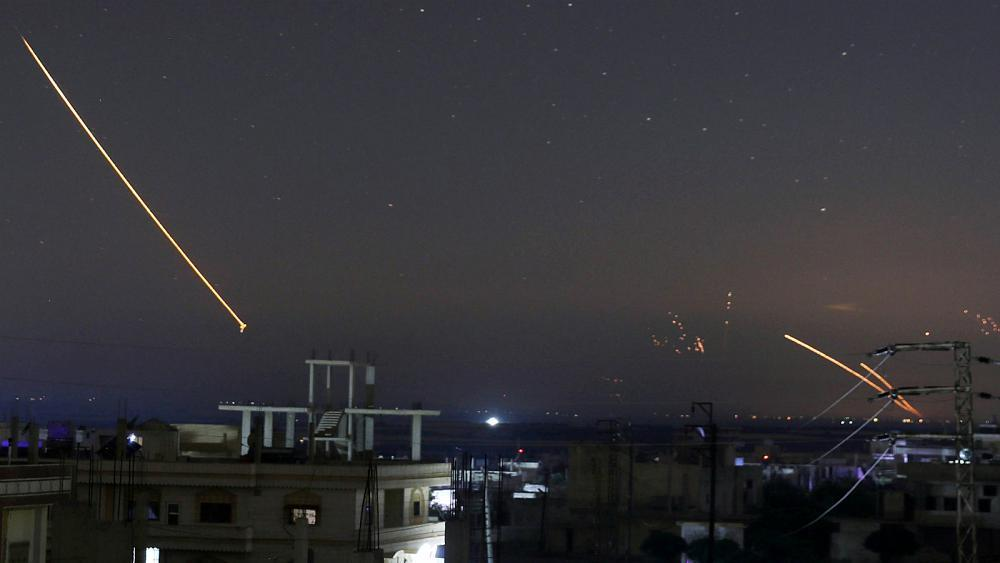 IMage [Israeli missiles over Damascus, May 11, 2018, via Syrian state television]