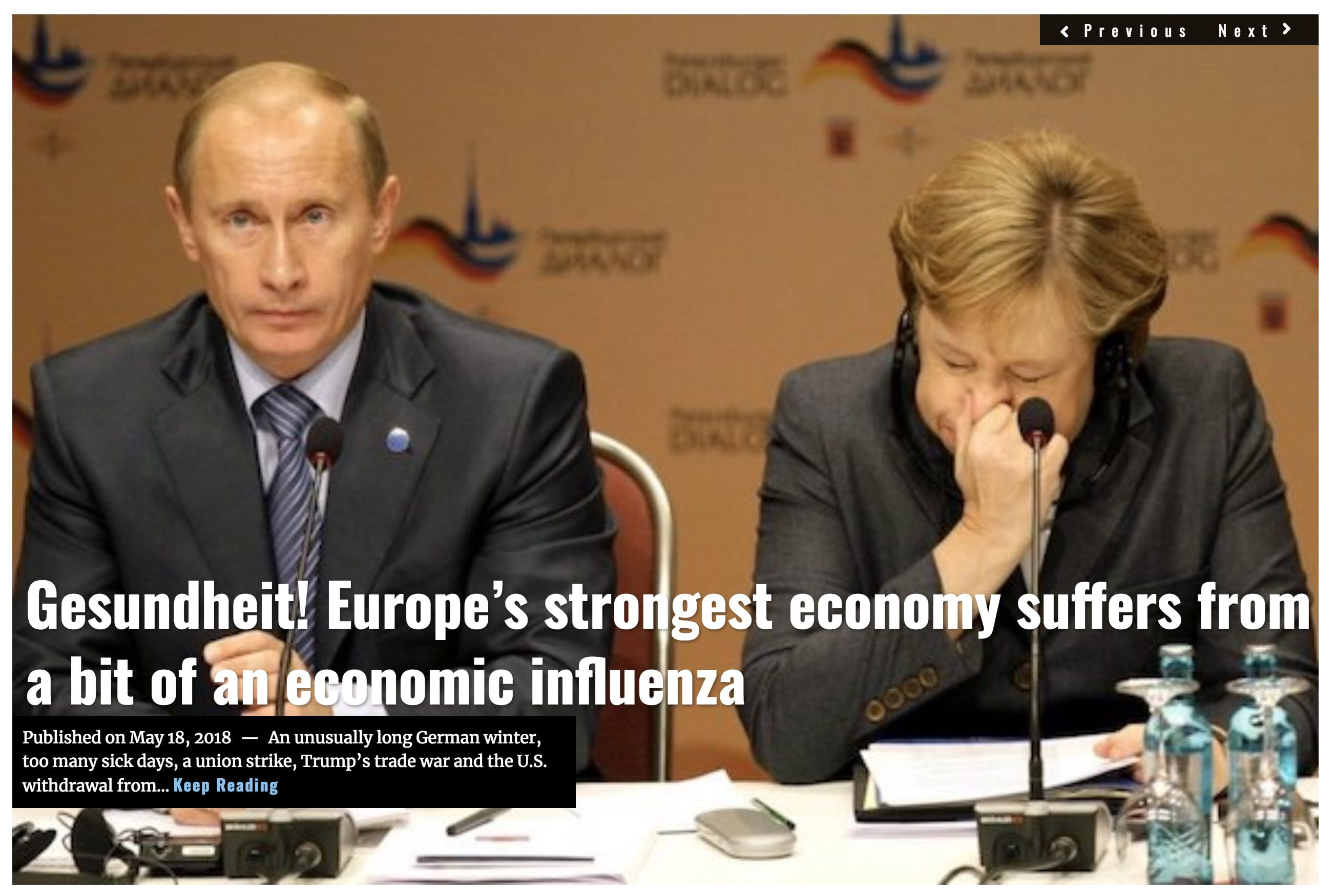 Image Lima Charlie News Headline Gesundheit! Europe's strongest economy suffers from a bit of an economic influenza MAY 18 2018