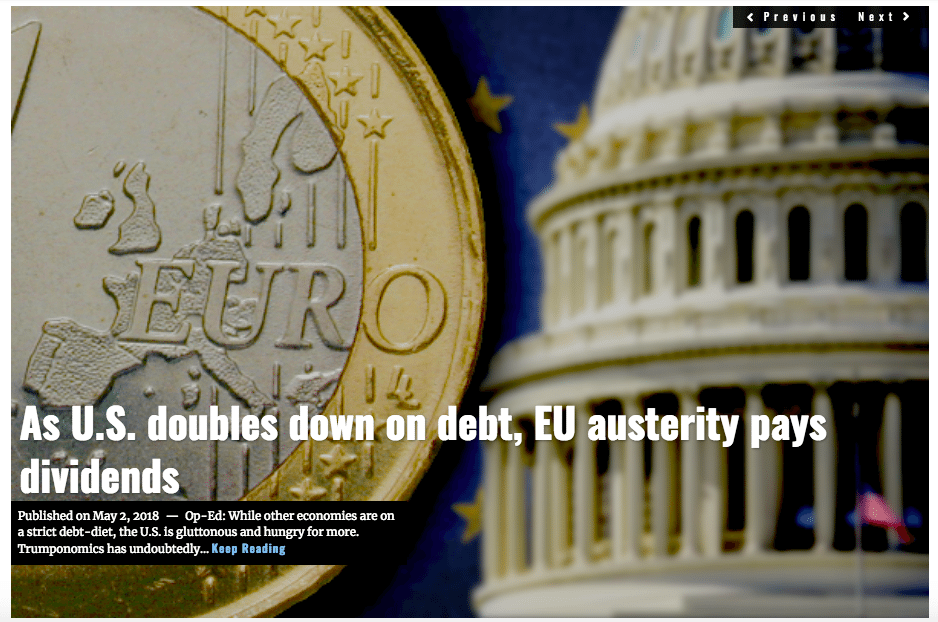 IMage Lima Charlie News Headline US Debt EU austerity MAY 2 2018