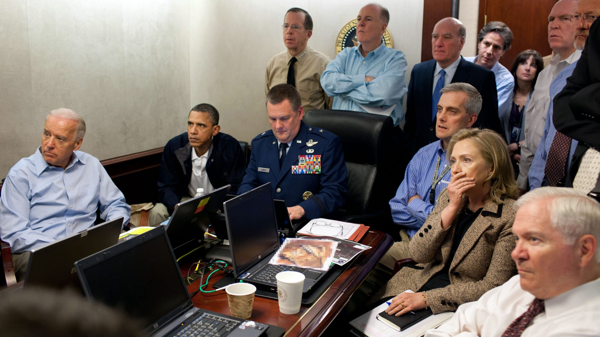 Image Handout image provided by The White House: President Barack Obama, Vice President Joe Biden, Secretary of State Hillary Clinton and members of the national security team receive an update on the mission against Osama bin Laden in the Situation Room of the White House May 1, 2011 (Photo: Pete Souza).