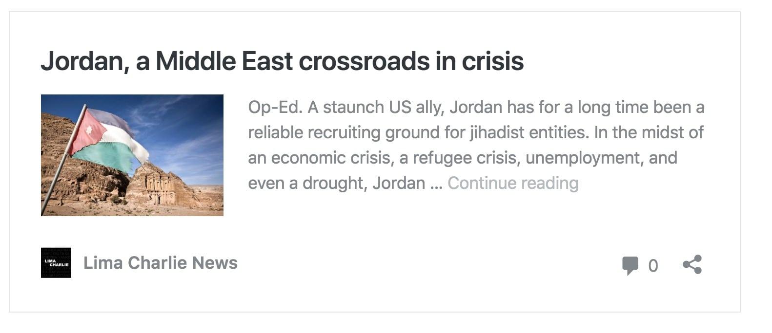 Image Lima Charlie News Headline Jordan Crossroads