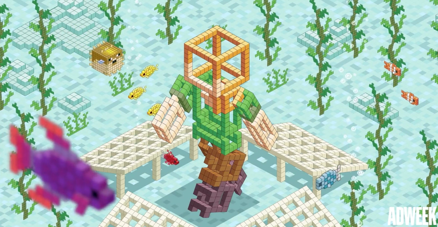 Image [Minecraft Coral Crafters project screen capture][Adweek]