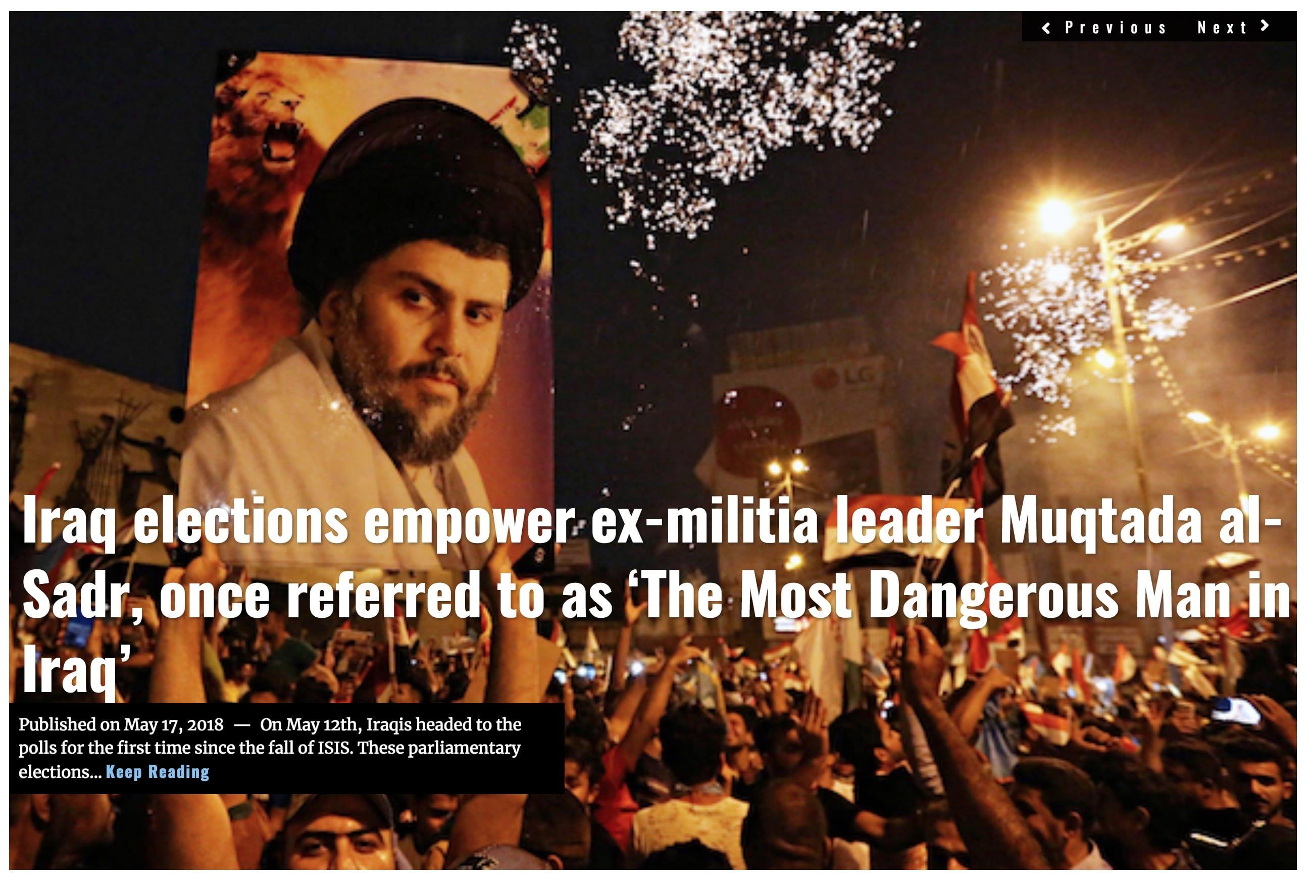 Image Lima Charlie News Headline Iraq elections al-Sadr MAY 17 2018