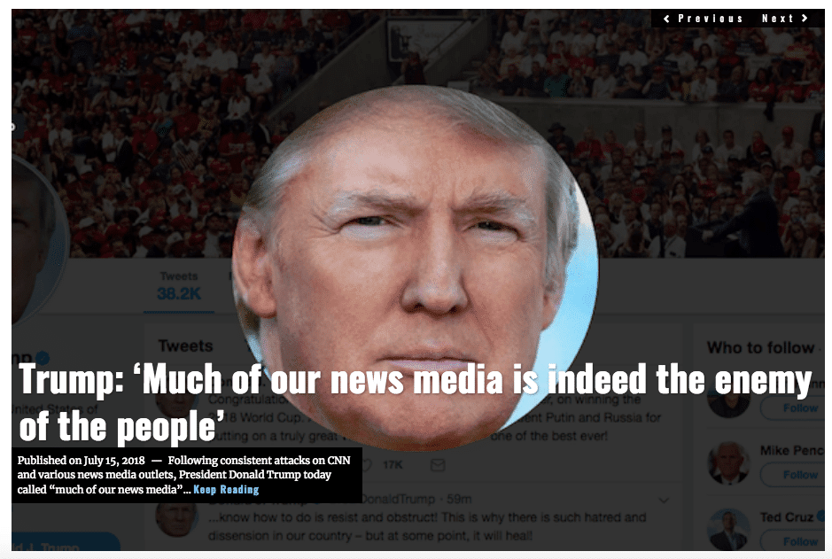 Image Lima Charlie News Headline Trump tweet news media enemy of the people JUL 15 2018